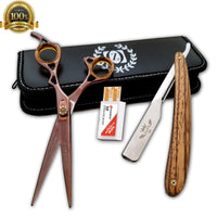 "Wooden Handle Razor Close Shave Shears Combo Hair Salon Scissors 6"" Shears USA - Liberty Beauty Supply"