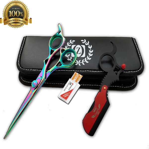 "6"" Professional Hair Cutting Japanese Scissors Thinner Barber Razor Shears Kit - Liberty Beauty Supply"