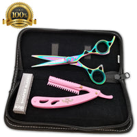 "Hair Styling & Barber Shears Rainbow Titanium 6"" Hairshaper and thinning Scissor - Liberty Beauty Supply"