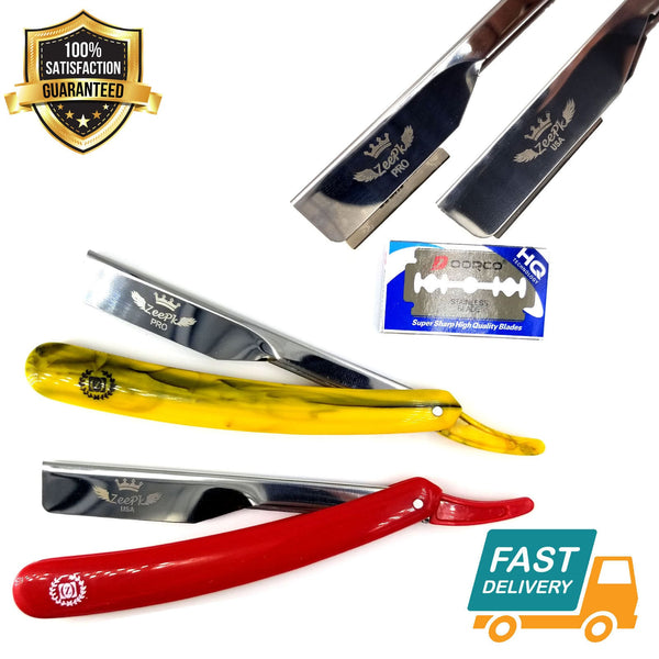 Professional Barber Hair Shaving Razor Straight Knife Navaja With Free 10 Blade - Liberty Beauty Supply