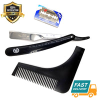 black close shave steel barber straight cut throat razor shavette + beard shaper - Liberty Beauty Supply