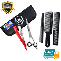 "Hair Styling & Barber Shears Professional 7"" Scissor Close Shave Shaving Razor - Liberty Beauty Supply"