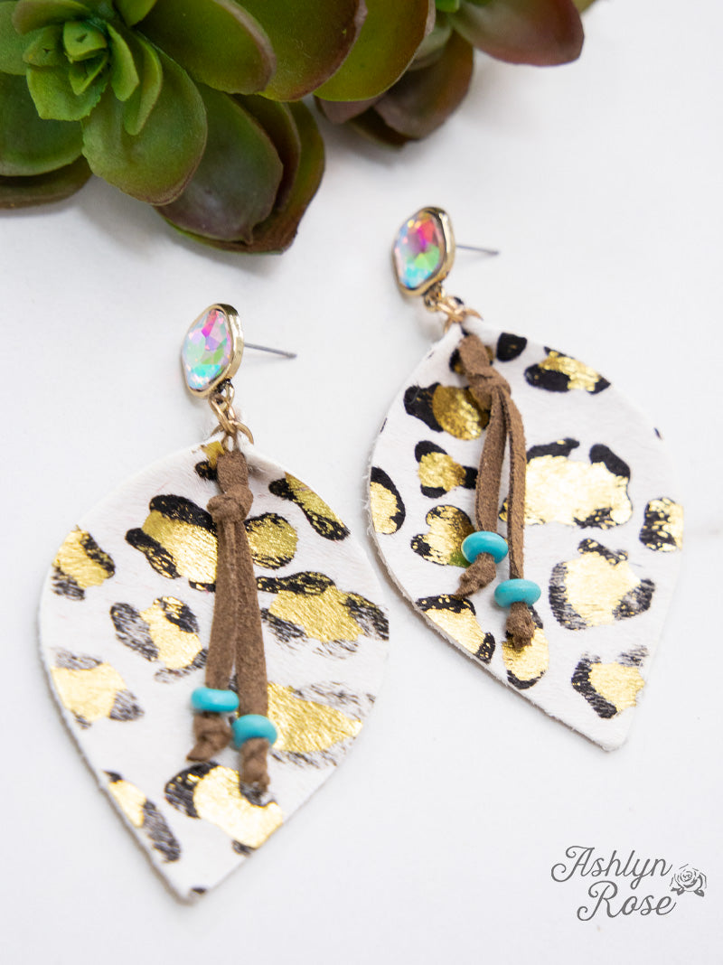 'Glitter in the Wild' Leopard Leaf Earrings, White