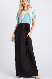 Multicolor Tie Dye and Solid Black Maxi Dress