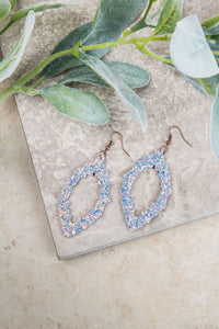 Baroque and Roll Earrings, Iridescent White Glitter