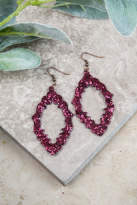 Baroque and Roll Earrings, Maroon Glitter