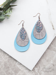 Triple Threat Blue and Grey Earrings