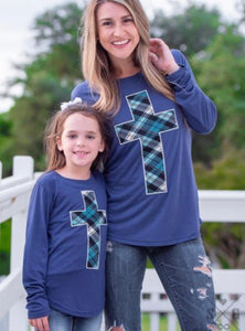 Embroidered Plaid Cross Patch on Cobalt Longsleeve Tee