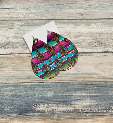 Cactus Serape Leaflet Shape Earrings (Locally Handmade)