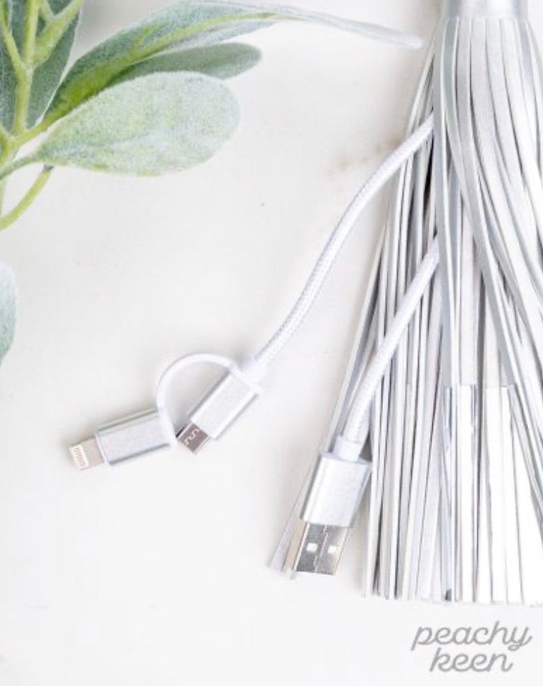 Tassel Keychain with Phone Charging Cable, Silver