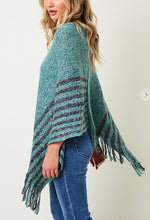 Load image into Gallery viewer, One Size Pretty Turquiose & Gray Poncho
