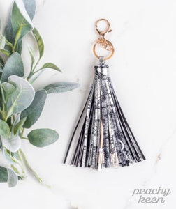 Hiss & Hers Tassel Keychain with Phone Charging Cable, Silver Snakeskin