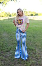 Load image into Gallery viewer, Blue Striped Bell Bottoms