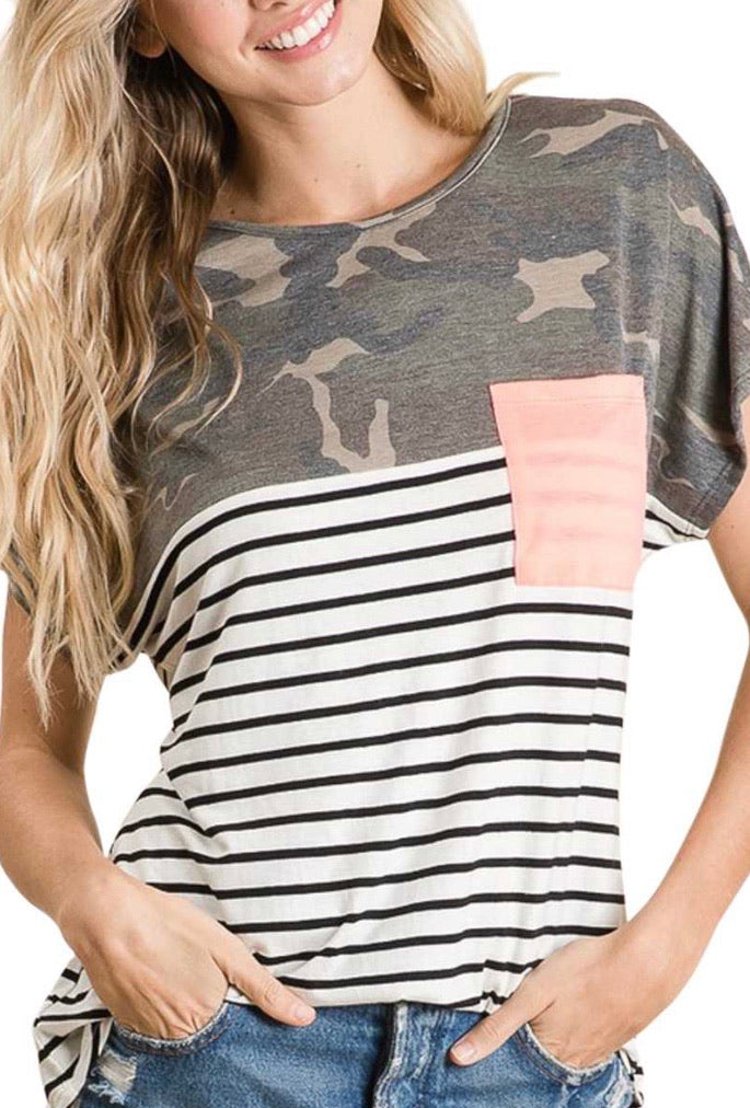 Camo, Black Stripe, & Color Block Pink Top