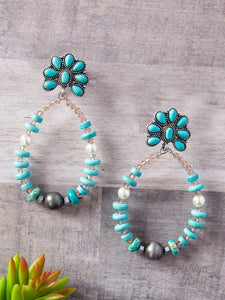 Southern Teardrop with Flower Earrings, Turquoise