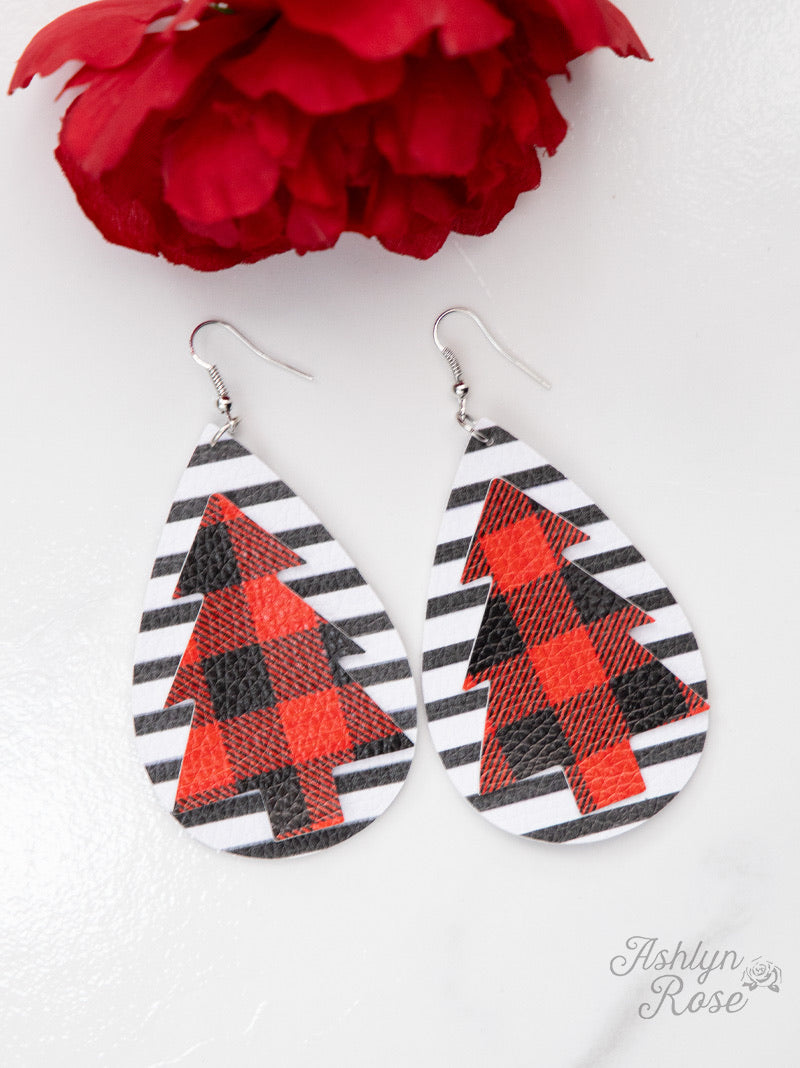 Make It A Holiday Striped Teardrop Earrings with Plaid Christmas Tree