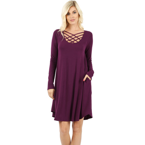 Long Sleeve Triple Lattice Dress