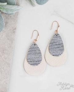 Show Me Your Stripes Glitter Stripe Stripe Double Tear Drop Earring On Cream, Black