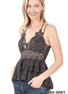 Crochet Lace Peplum Cami In Ash Gray