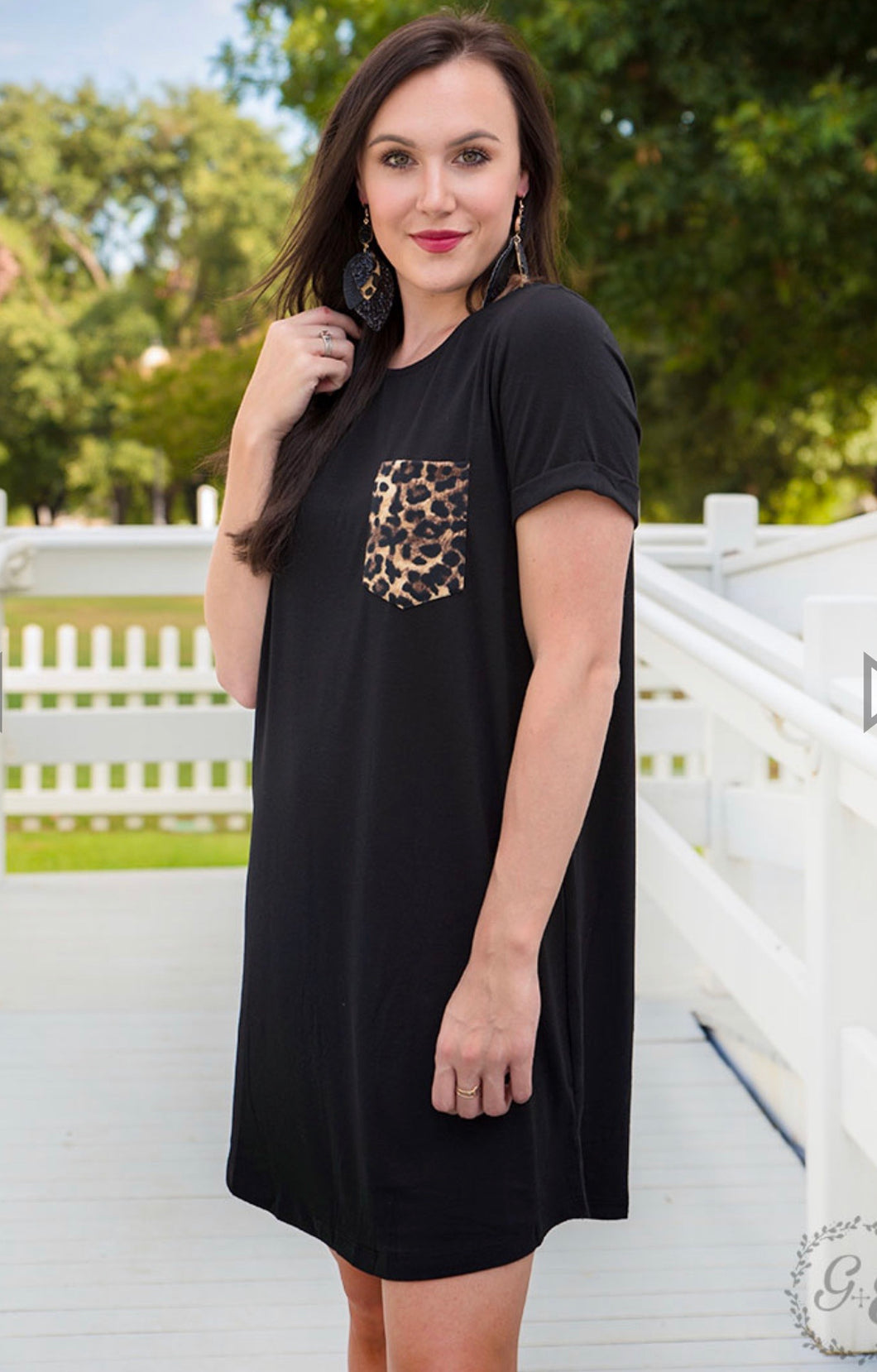 Save the Drama T-Shirt Dress with Leopard Pocket