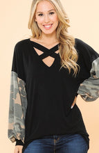 Load image into Gallery viewer, Chest Cross Detail Tunic W/ Army Contrast Sleeves