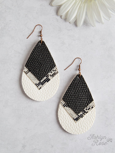 Chevron Teardrop Earrings With Black Snake, And Cream Trim