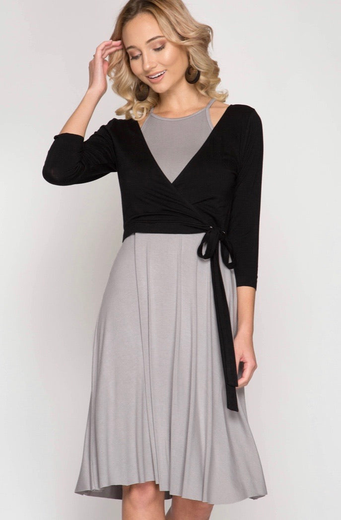 Gray Mid Length Dress With Attached Black Top That Ties In Front