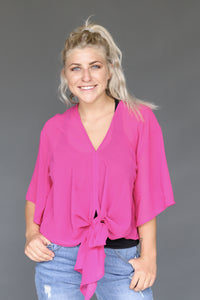 Fuschia Chiffon Elbow Length Tie Top