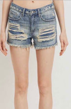 Load image into Gallery viewer, Distressed Denim Frayed Shorts - Dark Wash