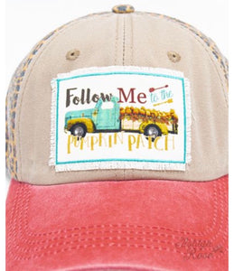 Follow Me to the Pumpkin Patch on Leopard & Red Panel Hat