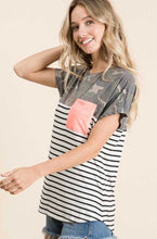 Load image into Gallery viewer, Camo, Black Stripe, & Color Block Pink Top