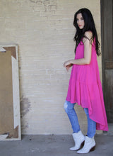 Load image into Gallery viewer, Fuchsia Pink Halter High Low Ruffle Dress