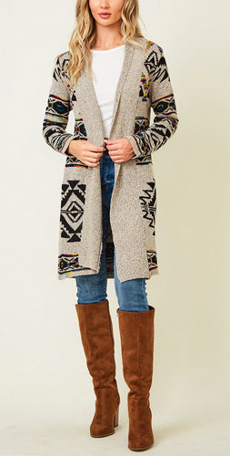 Long Sleeve Open Cardigan With Aztec Rainbow Pattern