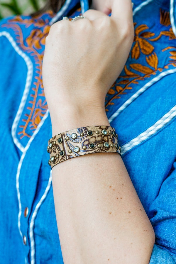 Gold Tooled Leather Cuff