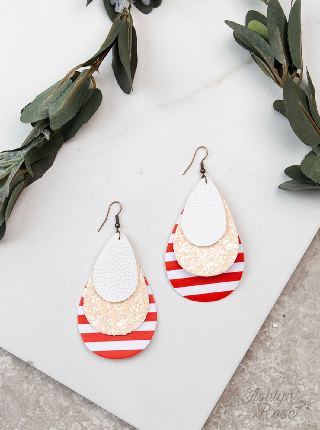 Red & White Stripe Glitter Earrings