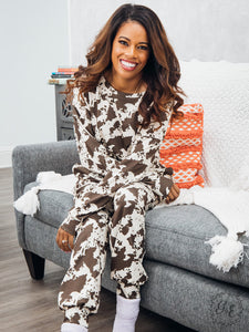 Mooove on Over, Cow Print Loungewear Set