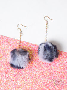Live your Passion Long Pom Pom Earrings, Grey