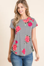 Load image into Gallery viewer, CASUAL SHORT SLEEVE FLORAL PRINT TOP