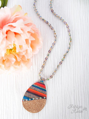 Split Between Grind and Shine Beaded Necklace, Serape