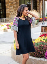 Load image into Gallery viewer, Black Savannah Dress with Aztec Ruffle Sleeve