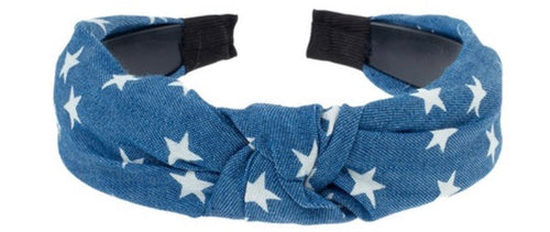 Star Printed Denim Cloth Hair Band