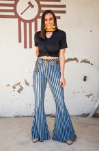 Load image into Gallery viewer, High Rise Denim Stripe Extreme Flare Jeans