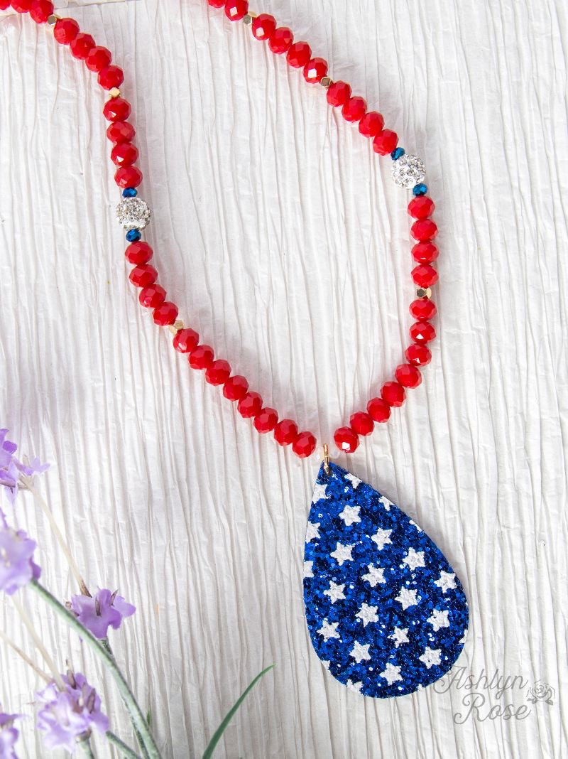 American Blue Teardrop Necklace with Stars, Red Chain