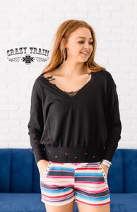 Black Aberdeen Distressed Sweater