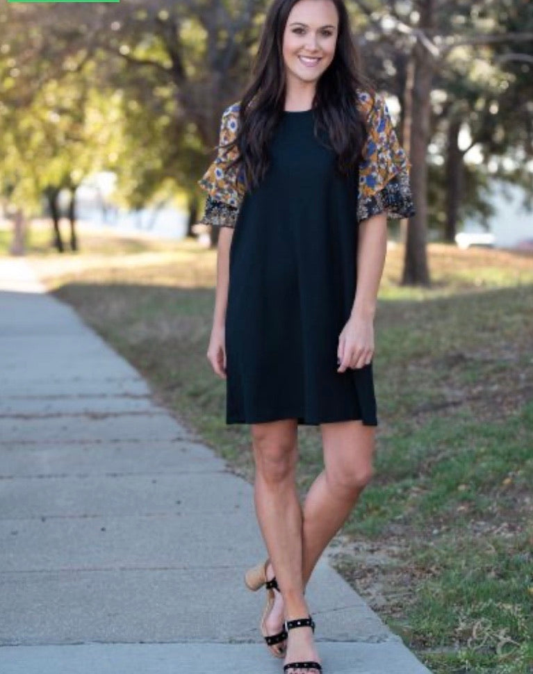 Anywhere She Goes Black Waffle-Knit Dress with Double Ruffle Sleeve
