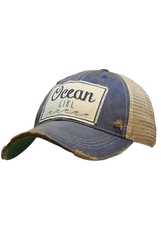 Ocean Girl Distressed Trucker Cap