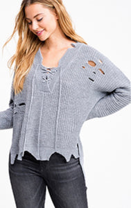 Grey Lace-Up Long Sleeve Distressed & Destroyed Hem Sweater