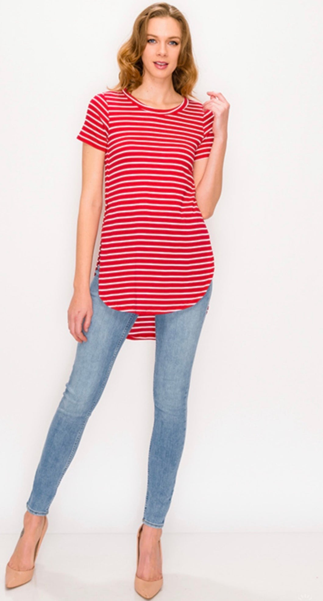 Red Striped Tunic Top