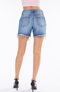 Landry's High Rise Distressed Uneven Hem Denim Shorts