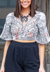 Ivory Aztec Cropped Top
